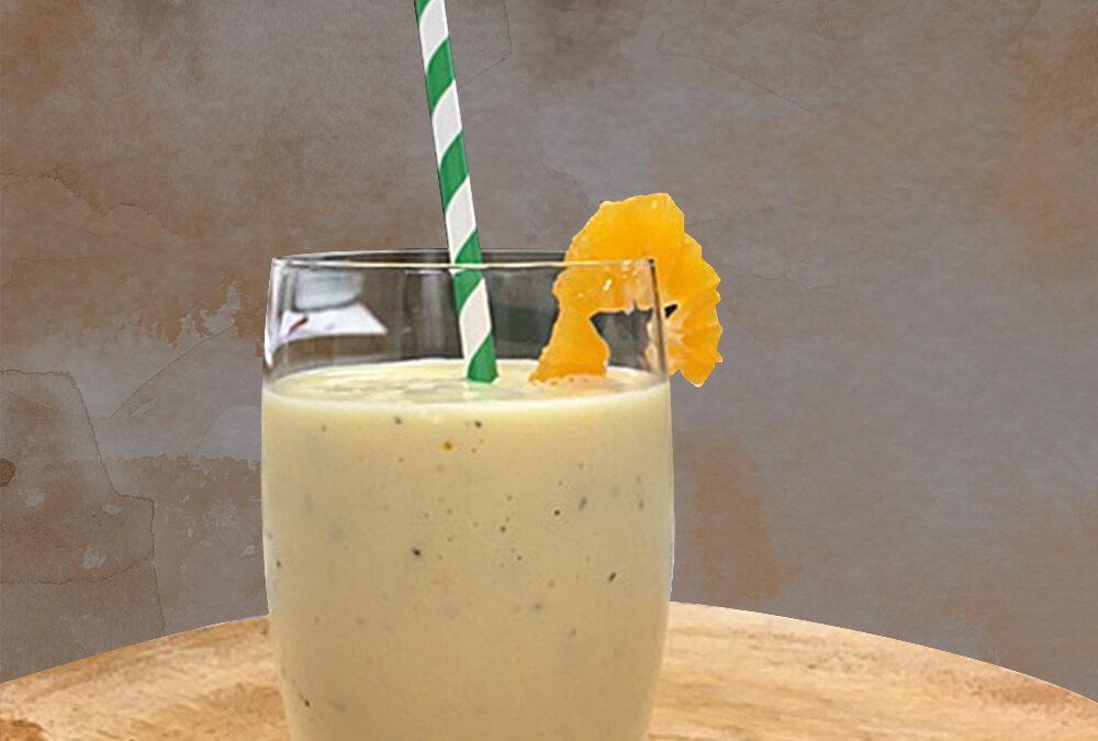 Smoothie perzik-mango-passievrucht € 3,50